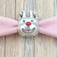 Wholesale Wholesale Sterling Silver Nose - Christmas 925 Sterling Silver Beads Red-Nosed Reindeer Charm Fits European Pandora Style Jewelry Bracelets & Necklace 791781EN39
