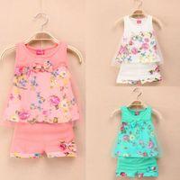 Wholesale Children Vest Fashion - 2016 new baby girls clothing set summer girls clothing sets fashion children girls lace floral bowknot vest + shorts 2 pic clothing suits