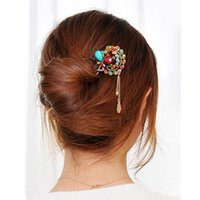 Wholesale Dangle Hairpin - Brand New Retro Vintage Butterfly Flowers Metal Hairpin Diamond Dangle Kanzashi colorful Hair Pin Stick Free Shipping[JH03063]