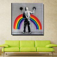 Wholesale Poster Frames Sizes - No framed art prints Banksy canvas poster Alec Monopoly graffiti street canvas large size for bedroom and living room