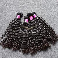 ingrosso estensioni dei capelli coloranti-Bella Hair® capelli ricci tessuto 4 pz / lotto capelli brasiliani 8a non trasformati possono essere tinti estensioni dei capelli economici brasiliano tessuto ricci