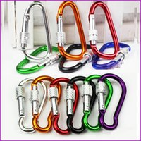 outdoor padlock - BIG SIZE Carabiner Screw Lock Hook Buckle Padlock for Hiking Camping Outdoor climbing button carabiner Outdoor hooks keychain
