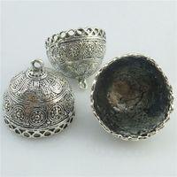 Wholesale End Caps Tibetan - 18443 2PCS Tibetan Filigree 28mm for Tassels Beads End Cap Hollow Dome Pendant