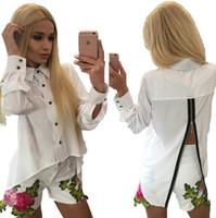 Wholesale Behind Button - 2017 Popular Style Fashion long-sleeve polyester chiffon jacket zipper shirt behind Sexy Chiffon Casual Shirt - Free Shipping + Free Gift