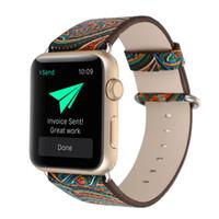 pulsera de cuero al por mayor-Flores estilo pintado Correa para Apple Watch Band 38mm 42mm Correa de cuero genuino para iwatch Series 1 2 3 Correa de pulsera