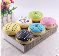 Wholesale Bun Chain - New PU 10cm colour doughnuts Bun Squishy Charm Donut Squshy Charm PHONE Chain