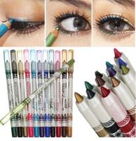 Wholesale Eyeliner Pen White - M.N Miele waterproof white wood rod 12 color eyeliner high light mousse Mousse eye shadow pen lip liner