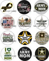 Wholesale Food Goods - Free shipping ARMY MOM glass Snap button Charm Popper for Snap Jewelry good quality 12pcs   lot Gl379 jewelry making