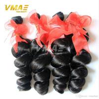 doğal gevşek kıvırcık saç uzantıları toptan satış-Sınıf 7A Brezilyalı Virgin İnsan Saç Uzantıları Gevşek Dalga 4 Adet Doğal Siyah Brezilyalı Gevşek Kıvırcık İnsan Saç Hızlı Kargo Örgüleri