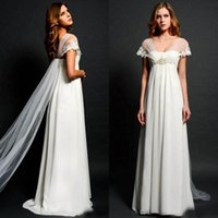 Wholesale Chiffon Embellishments - Stunning Empire Beach Wedding Dresses Sheer Capped Sleeves Lace Appliques Beads Embellishment Chiffon Bridal Gowns Flowing Ribbon Boho Wear