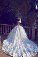 Wholesale Ball Gowns For Pregnant Women - 2017 Full Lace Gorgeous Ball Gown Wedding Dresses Sheer Neck Appliques Open Back Custom Made Plus Size Wedding Gowns For Pregnant Women