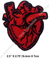 Wholesale Embroidery Patches Badges - X-Ray Anatomical Red Heart Iron Sew On Clothing Patches T Shirt horror Gothic Embroidery badge Halloween Cosplay Costume diy