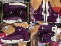 Wholesale Carbon Fibre Products - New Products Bordeaux Retro 12 Purple Suede Men Basketball Shoes Carbon Fibre Size eur 41-47 Free Shipping With Box