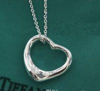 Wholesale Heart Shaped Sweater - 925 Silver Plated Heart Shape Statement Necklaces Hollow Heart Sweater Chain Crystal Jewelry Heart Shape Statement Necklaces