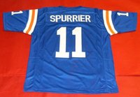 Cheap # 11 STEVE SPURRIER CUSTOM FLORIDA GATORS JERSEY HEISMAN bule Mens cuciture Throwback Taglia S-5XL maglie da calcio