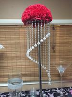 акриловые подставки для центральных частей оптовых-роскошный высокий висит акриловый Кристалл шарик свадебный цветок стенд центральные на продажу