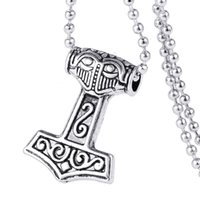 Wholesale Pewter Gothic Pendants Wholesale - Wholesale-Myth Thor's Hammer Norse Magick Mjolnir Pewter Necklace Gothic Punk Vintage Vikings Pendant Accessories Jewelry for Gift YS10891