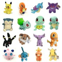 Wholesale Movies Plush Doll - Poke Plush Toys Pikachu 13-20cm Stuffed Animals Dolls Pocket Dolls Cartoon Bulbasaur Squirtle Charmander Doll Gift OTH561