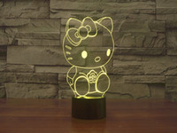 Cartoon No Yes 7 LED Color Changing Lamp Light Night 3D Kitty Pink Fashion Acrylic Lamp LED Fun Gift for Kids Drop Ship