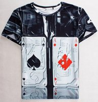 Wholesale Poker T Shirts - tshirt Graphic 3d tshit for men women casual tops t shirt funny print Poker Spades A and Diamond A tops t-shirt 1843