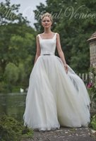 Wholesale Simple Square Open Back - Vintage Square Slim Bodice Tulle Wedding Dresses with Ribbon Open Back Boho Bridal Gowns 2016 Robe de marriage Summer Beach Wedding Gowns