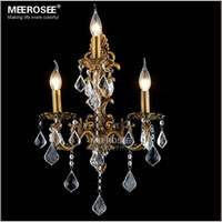 Wholesale Bronze Art Deco Lamps - 100% Guarantee 3 Lights Crystal Wall Light Brass color Wall Sconces Lamp Bronze Wall Brackets Light
