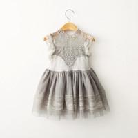 roupas para meninas venda por atacado-2019 meninas roupas de verão de algodão rendas princesa dress crianças oco floral vintage vestidos de festa para crianças roupas crianças boutique