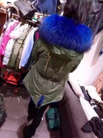 Wholesale Army Hood Jacket - Real pictures blue fur Mr & Mrs Italy fur trim army green canvas Parka dyed rabbit fur lining MR MRS FURS warm jackets