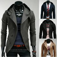 Wholesale Dark Grey Male Casual Suit - 2017 Mens Fashion Brand Blazer British's Style casual Slim Fit suit jacket male Blazers men coat Terno Masculino Hooded Coat M-XXL 4 Colors