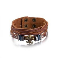 Wholesale Cool Cheap Jewelry - Vintage Cross Leather Bracelet Charm jewelry For Men Woman Cool European Style Surprise Birthday Gifts Cheap Wholesale Leather bangles