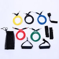 Wholesale Rope Workout Band - New 11 Pcs Set Latex Resistance Bands Workout Exercise Pilates Yoga Crossfit Fitness Tubes Pull Rope free shipping HY893