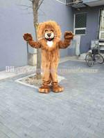 ingrosso costumi di peluche-Sconto caldo di vendita del costume della mascotte del leone, tipo adulto del vestito della mascotte del leone della peluche rosso-marrone di alta qualità vigoroso trasporto libero.