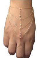 Wholesale slave bracelet jewelry online - New Multi celebrity fashion chain tassel bracelet chain slave finger gold hand harness bracelet jewelry for women
