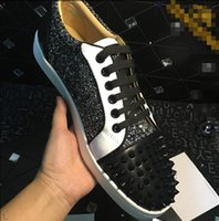 Wholesale genuine leather women shoes drop shipping resale online - Drop ship Low Top grey glitter Spikes Casual Flats Red Bottom Shoes New For Men and Women Party Designer Sneakers Lovers Genuine Leather