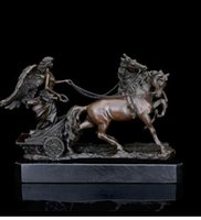 Wholesale Collectible Horse Statues - Arts Crafts Copper ATLIE BRONZES Greek mythology bronze sculpture angel and horses statues Art collection house decoration