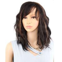 парики коричневые волнистые средней длины оптовых-Средней длины волосы синтетические парики прическа Flapper для женщин Finger Wavy Wigs Черно-коричневые цвета синтетический парик