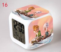 Wholesale Flashing Light Alarm Bell - Tinker Bell desk table clocks 7 Colorful flash touch lights Tinker Bell kids toys action figure digital alarm clocks wholesales child gift
