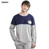 5f841f93f2 BXMAN Brand New Pijamas Hombre Hombre Pijamas de Dibujos Animados de Algodón  O-cuello de Manga Completa Pijamas Para M Home Suit Modal 139