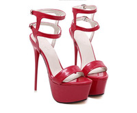 Wholesale Low Cut Leather Pumps - 2016 New style Sexy stilettos diamond rivets high heels Sexy fashion Hollow out super fine female sandals maid of honor shoes Size:U4-9 NN46