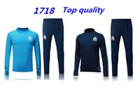 Full sports track suit - 2017 Olympic Marseille Tracksuit Soccer Jogging Football Tops Coat Pants Sports Training Suit Men Adults OM Football Track Suit