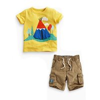 Wholesale Top Baby Model - New Model baby boy set top and bottom small and middle baby cute print short sleeve T shirt plus Drawstring short pant