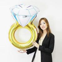 folha de balão de valentim venda por atacado-Popular 30 polegada Lover Wedding Wedding Balloon Diamante Noiva Anel de Noivado Foil Valentine Balloons Partido Brinquedos