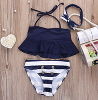 Wholesale Stripe Bikini Set - Summer children swimsuit girls stripe high waist double-breasted swimwear 3pcs sets kids spa swimsuit children beach swimsuit 7450