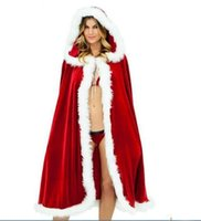 Wholesale Christmas Sexy Suit - Sexy Long Christmas Suits Costume Red Hats Christmas Cloak Party Dress Up Women Christmas Lady Clothes Cosplay Velvet Shawl Cloack