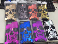 Wholesale Hybrid Skull Case - Bling Skull Hybrid Camo Case For Iphone 7 Plus Iphone7 I7 PC Hard Armor Silicone Soft ShockProof Colorful Electroplated BAG Skin Cover 60pcs