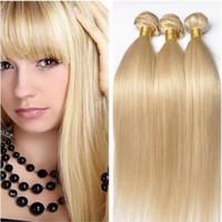 ingrosso tessuto russo dei capelli umani-Capelli biondi brasiliani 9A Straight Straight 613 # Blonde Russian Hair 3 Bundle Deals Capelli umani non trasformati Honey Blonde Weave