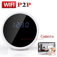 Wholesale Home Security Hidden Video Cameras - HD 1080P P2P WiFi Mini Hidden Spy Camera Alarm Clock with Motion Detection Infrared Night Vision Indoor Home Security Camera Video Recorder