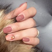 CDH Nail Tip Set Bean Paste Golden Circle Pearl Marmo modello Office Lady Party Daily Elegance Polvere nuda Cameo Brown Asimmetria 05