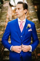 Wholesale Satin Tie Backs - New Arrivals 2016 Two Buttons Royal Blue Groom Tuxedos Peak Lapel Groomsmen Best Man Suits Mens Wedding Suits (Jacket+Pants+Vest+Tie)
