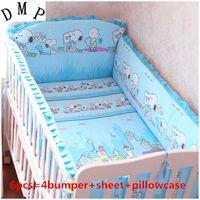 conjuntos de cama para animais para bebês venda por atacado-Promoção! 6 PCS Cama De Bebê 100% Algodão Berço New Bed Cama Berçário Set, incluem (4bumpers + folha + fronha)